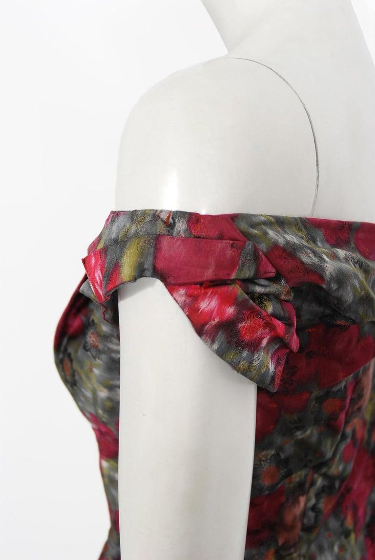Women's Vintage 1950's Claire Schaffel Floral Print Silk Off-Shoulder Cocktail Dress For Sale
