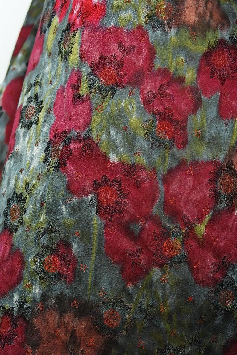 Vintage 1950's Claire Schaffel Floral Print Silk Off-Shoulder Cocktail Dress For Sale 2