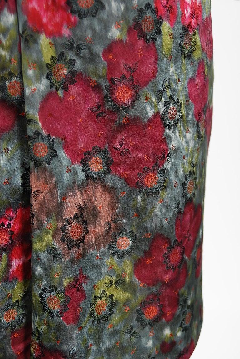 Vintage 1950's Claire Schaffel Floral Print Silk Off-Shoulder Cocktail Dress For Sale 3