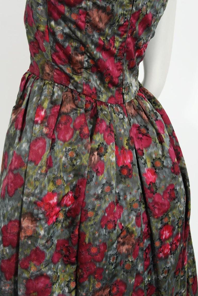 Vintage 1950's Claire Schaffel Floral Print Silk Off-Shoulder Cocktail Dress For Sale 4
