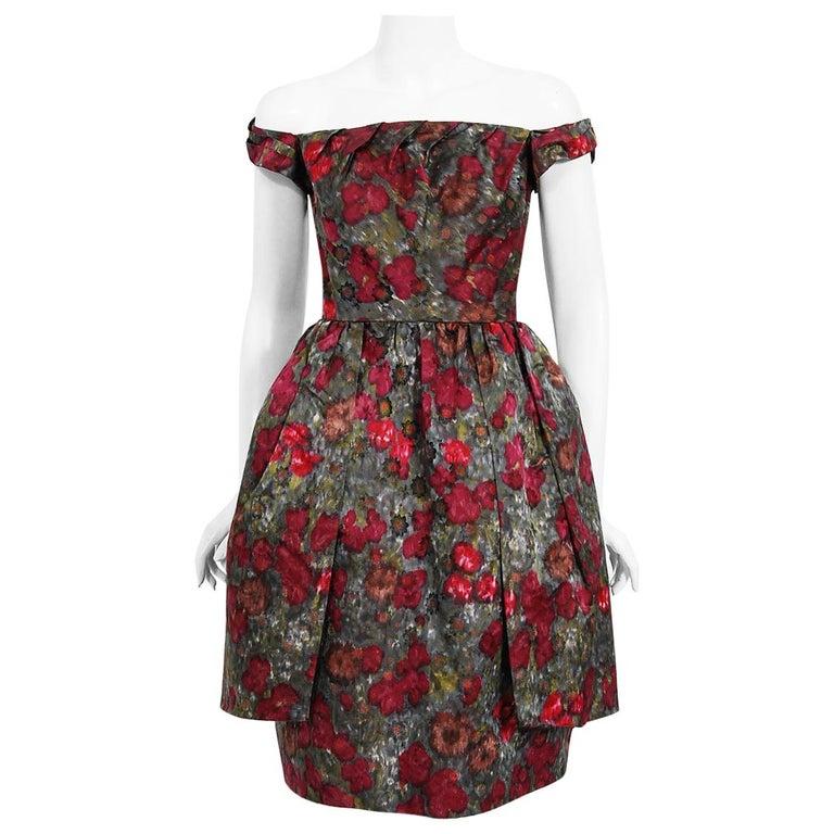Vintage 1950's Claire Schaffel Floral Print Silk Off-Shoulder Cocktail Dress For Sale