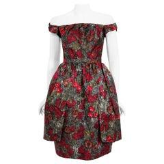 Vintage 1950's Claire Schaffel Floral Print Silk Off-Shoulder Cocktail Dress