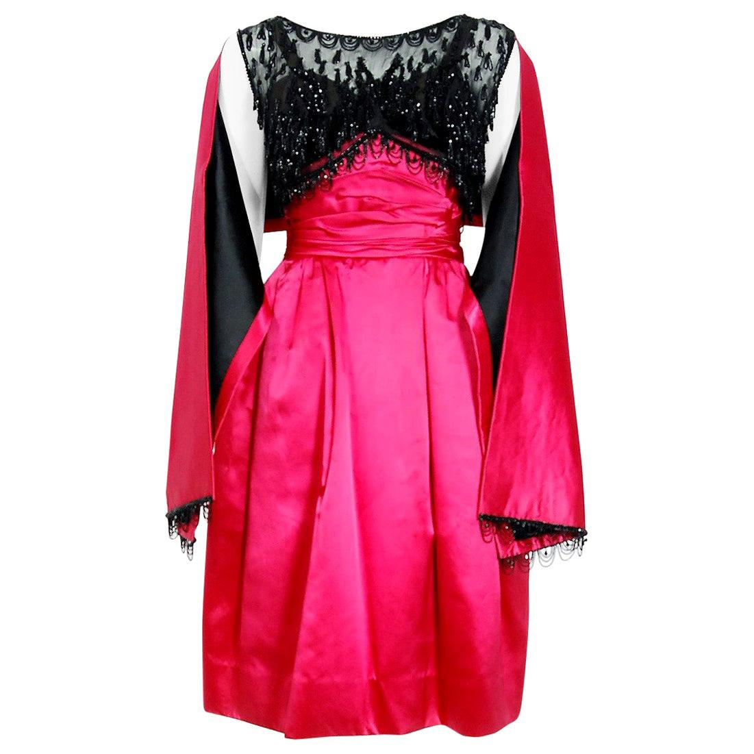 Vintage 1950's Couture Fuchsia Satin Beaded Illusion Cocktail Dress w/ Shawl