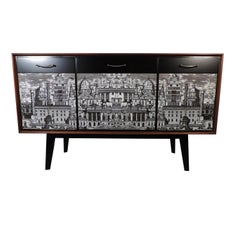 Vintage 1950s Credenza with Roman Cityscape Panels in the Manner of Fornasetti