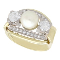 Vintage 1950s Cultured Pearl and 1.23 Carat Diamond Yellow Gold Cocktail Ring