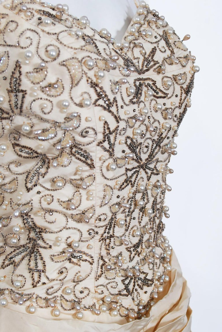 Women's Vintage 1950's Custom Couture Beaded Jeweled Ivory Silk Hourglass Back-Bow Gown For Sale