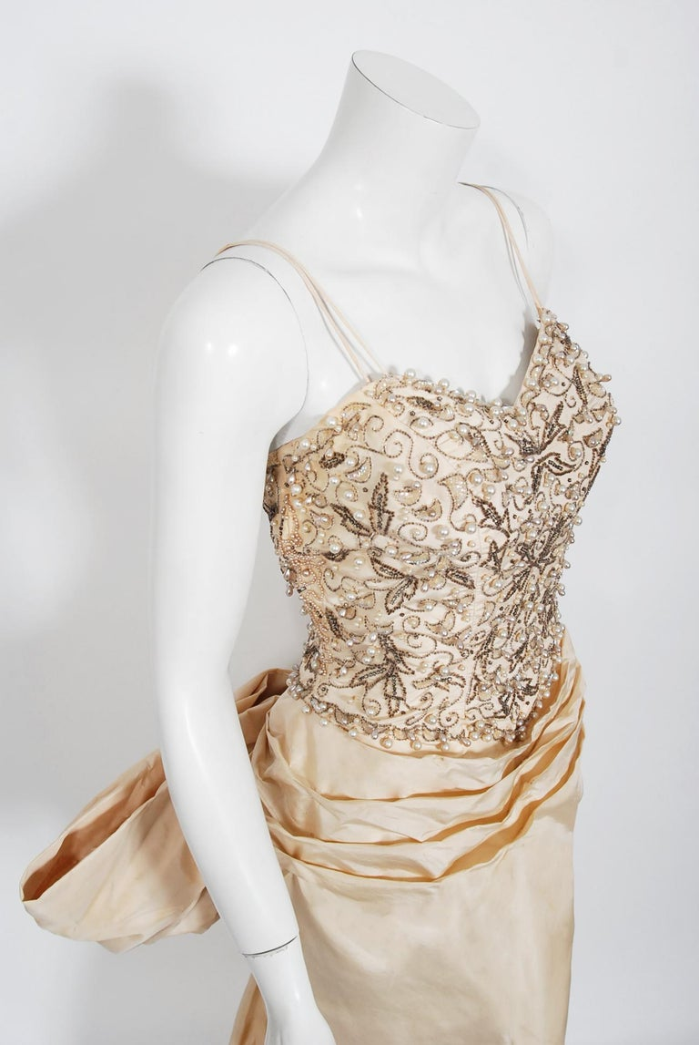 Vintage 1950's Custom Couture Beaded Jeweled Ivory Silk Hourglass Back-Bow Gown For Sale 1