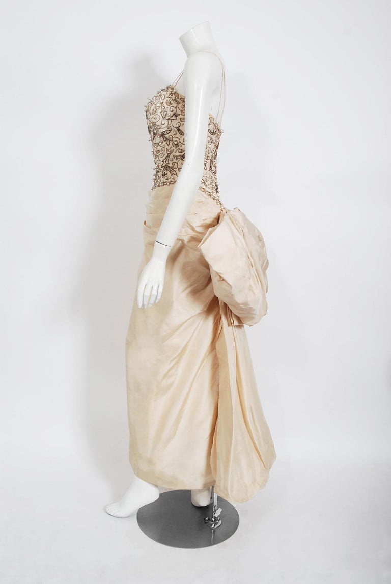Vintage 1950's Custom Couture Beaded Jeweled Ivory Silk Hourglass Back-Bow Gown For Sale 2