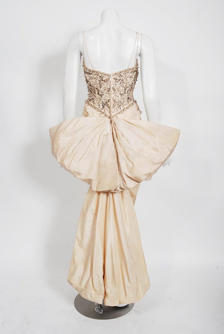 Vintage 1950's Custom Couture Beaded Jeweled Ivory Silk Hourglass Back-Bow Gown For Sale 3