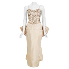 Vintage 1950's Custom Couture Beaded Jeweled Ivory Silk Hourglass Back-Bow Gown