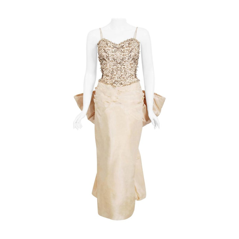 Vintage 1950's Custom Couture Beaded Jeweled Ivory Silk Hourglass Back-Bow Gown For Sale