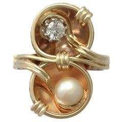 Vintage 1950s Diamond and Pearl Rose Gold Cocktail Ring