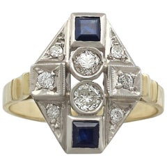 Vintage 1950s Diamond and Sapphire Yellow Gold Dress Ring