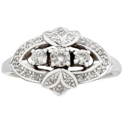 Vintage 1950s Diamond and White Gold Cocktail Ring