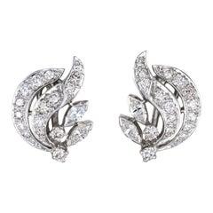 Vintage 1950s Diamond Earrings 14 Karat Gold Estate Fine Jewelry Screw Backings
