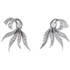 Vintage 1950s Diamond Earrings 14 Karat Gold Estate Fine Jewelry Spray Design