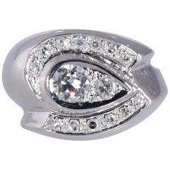 Vintage 1950s Diamond Ring 14 Karat WG .59 Carat TW .34 Carat Center SI1, J
