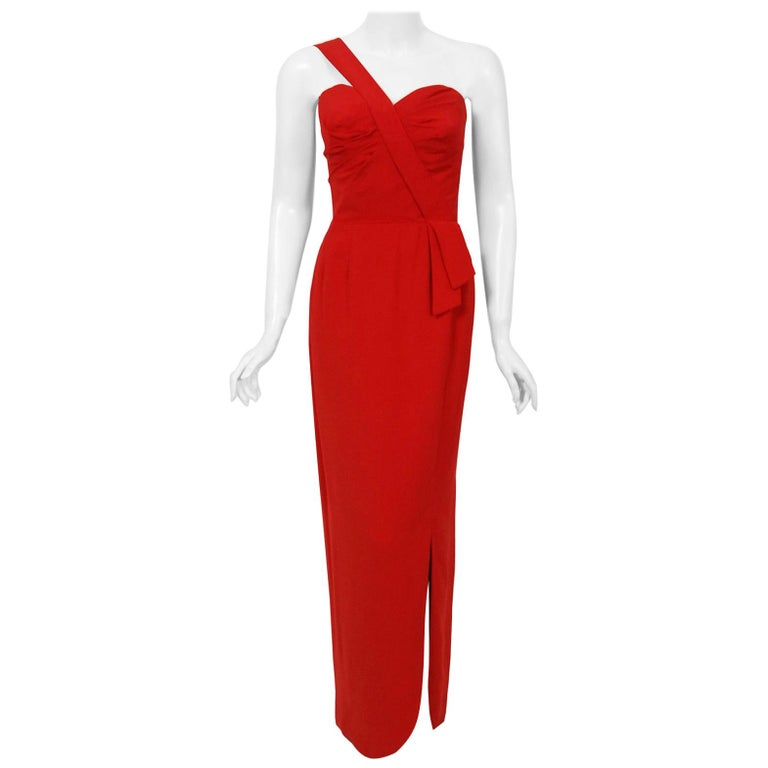 Vintage 1950's Dorothy O'Hara Red Rayon Crepe One-Shoulder Hourglass Slit Gown For Sale