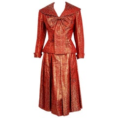 Vintage 1950's Egyptian Couture Metallic Burgundy Red Silk Brocade Dress Suit