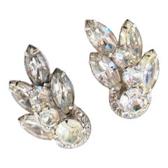 Vintage 1950s Eisenberg Crystal Rhinestone Ear Climber Statement Earrings
