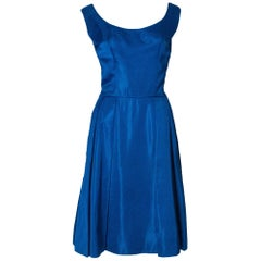 Vintage 1950s Electric Blue Cocktail Dress