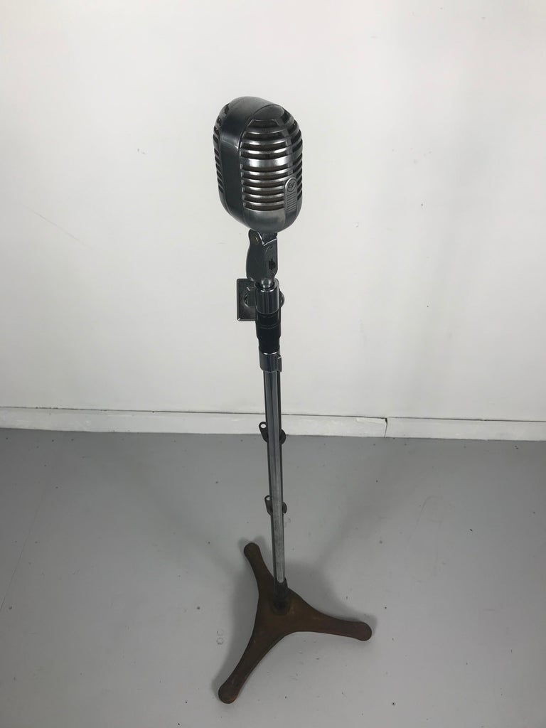 American Vintage 1950s Electro Voice 726 Microphone with Rare 1930s Art Deco Boom Stand  For Sale