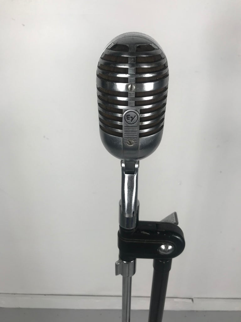 Cast Vintage 1950s Electro Voice 726 Microphone with Rare 1930s Art Deco Boom Stand  For Sale