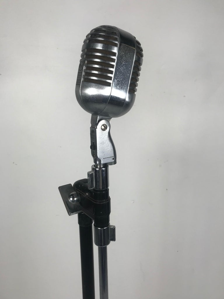 Mid-20th Century Vintage 1950s Electro Voice 726 Microphone with Rare 1930s Art Deco Boom Stand  For Sale