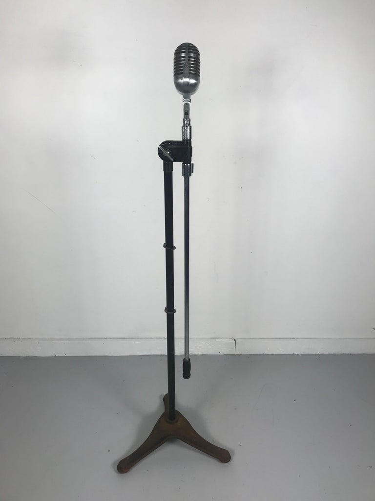 Chrome Vintage 1950s Electro Voice 726 Microphone with Rare 1930s Art Deco Boom Stand  For Sale