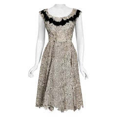 Vintage 1950's Elizabeth Arden Couture Ivory Lace & Black Velvet Scalloped Dress