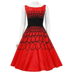 Vintage 1950's Embroidered Red Taffeta Black Wool Cummerbund Circle-Skirt Dress