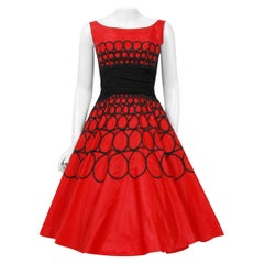 Vintage 1950's Embroidered Red Taffeta Black Wool Cummerbund Circle-Skirt Dress