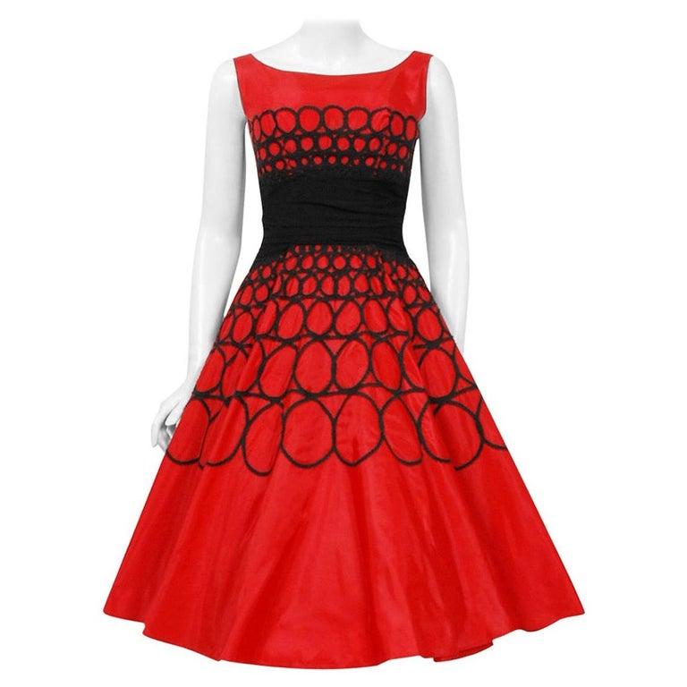 Vintage 1950's Embroidered Red Taffeta Black Wool Cummerbund Circle-Skirt Dress For Sale