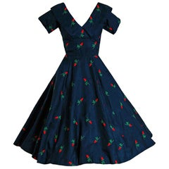 Vintage 1950's Embroidered Roses Navy Blue Silk Shelf-Bust Full New Look Dress