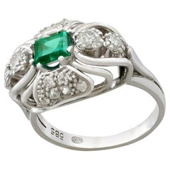 1950s Vintage Emerald and Diamond White Gold Cocktail Ring