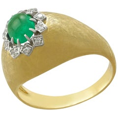 Vintage 1950s Emerald Diamond Yellow Gold Cocktail Ring