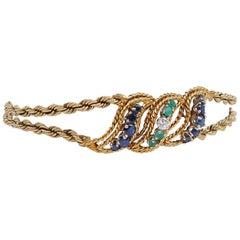 Vintage 1950s Emerald Diamonds Sapphires 14K Gold 15 cm