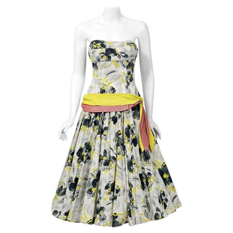 Vintage 1950's Emma Domb Grey Chartreuse Floral Print Cotton Strapless Dress For Sale