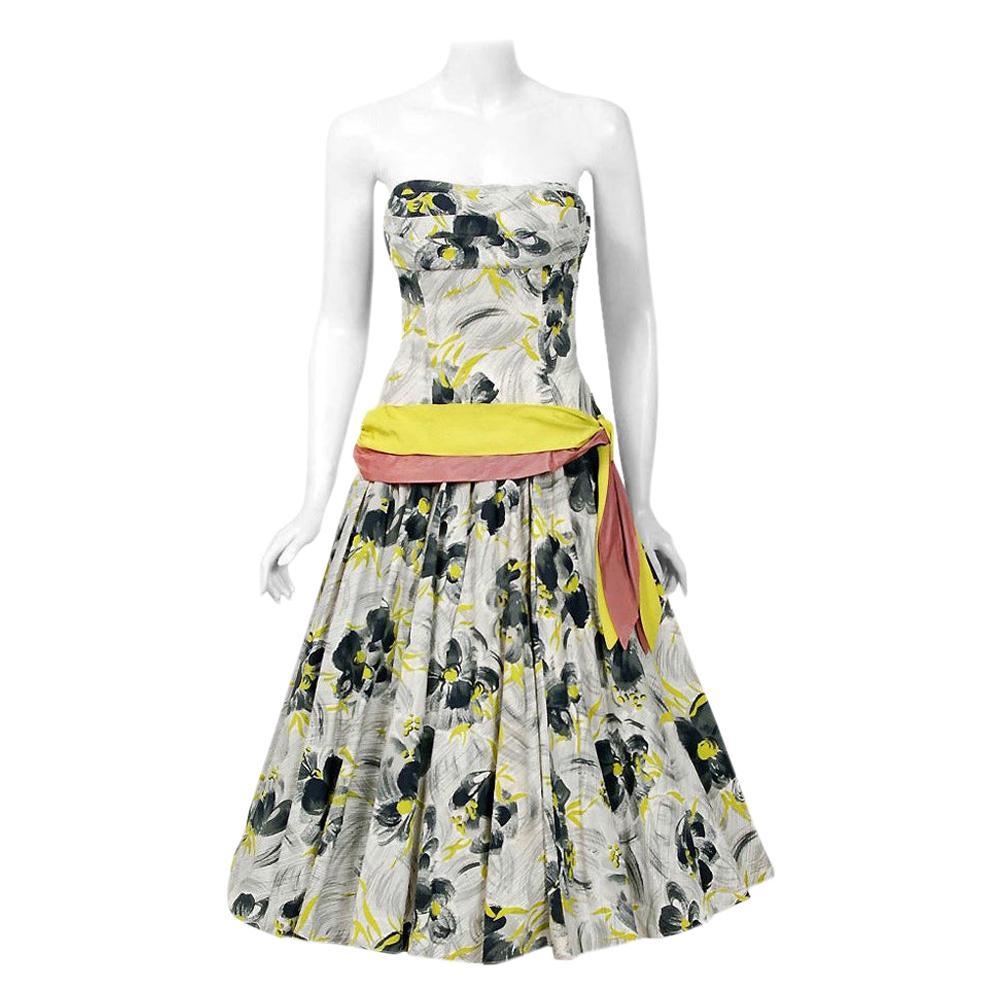 Vintage 1950's Emma Domb Grey Chartreuse Floral Print Cotton Strapless Dress