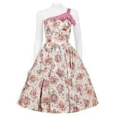 Vintage 1950's Emma Domb Pink Floral Print Taffeta One-Shoulder Bow Party Dress