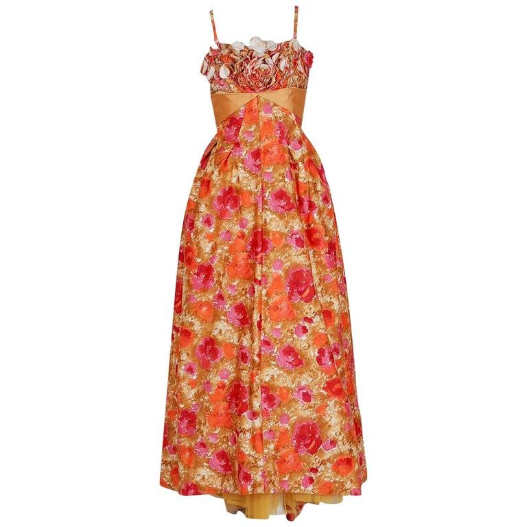 Vintage 1950's Emma Domb Rose-Garden Floral Cotton & Satin Applique Sequin Gown For Sale