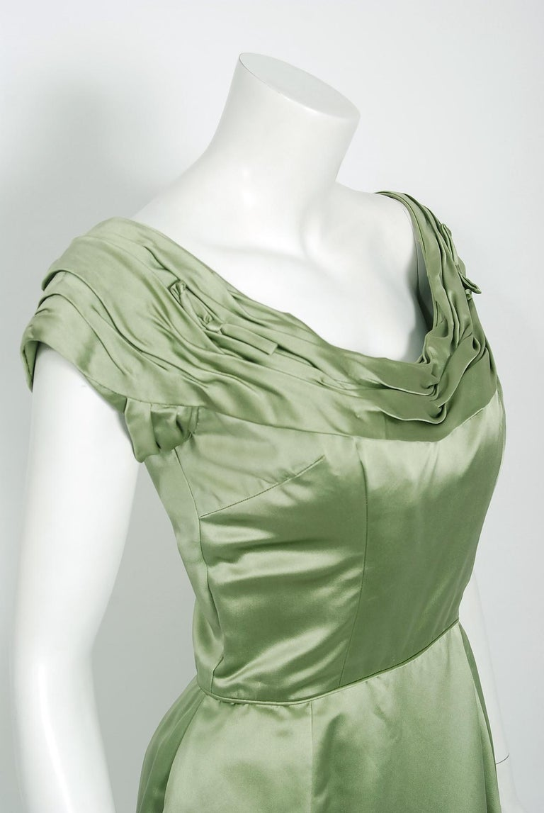 Gray Vintage 1950's Evelyn Brown Couture Sage Green Silk-Satin Ruched Cocktail Dress For Sale