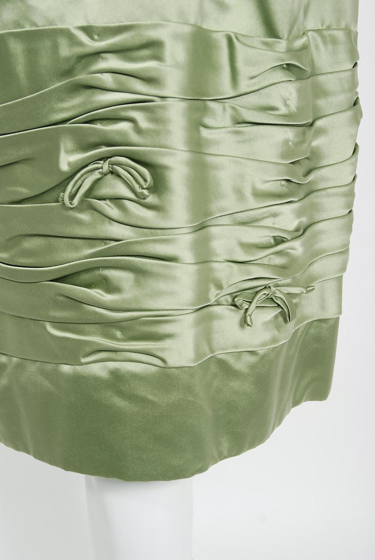 Vintage 1950's Evelyn Brown Couture Sage Green Silk-Satin Ruched Cocktail Dress In Good Condition For Sale In Beverly Hills, CA