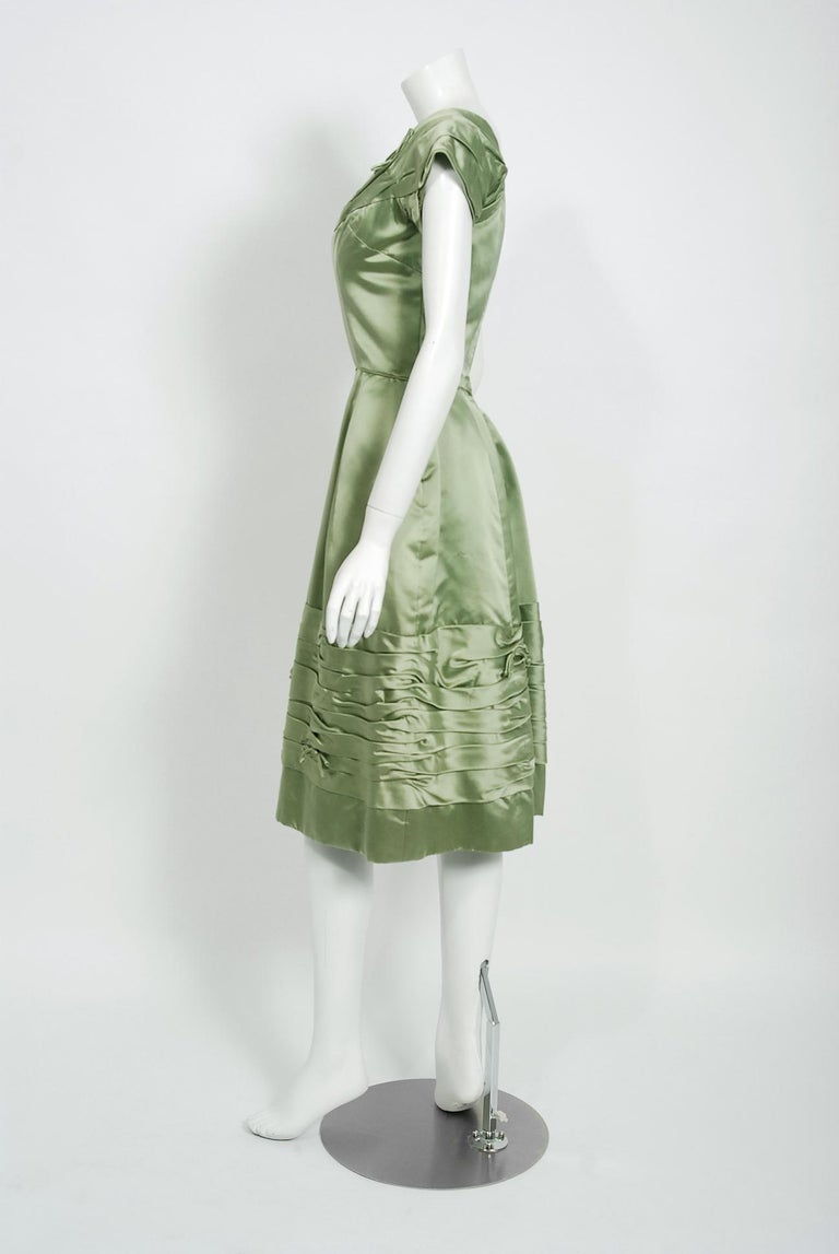 Women's Vintage 1950's Evelyn Brown Couture Sage Green Silk-Satin Ruched Cocktail Dress For Sale