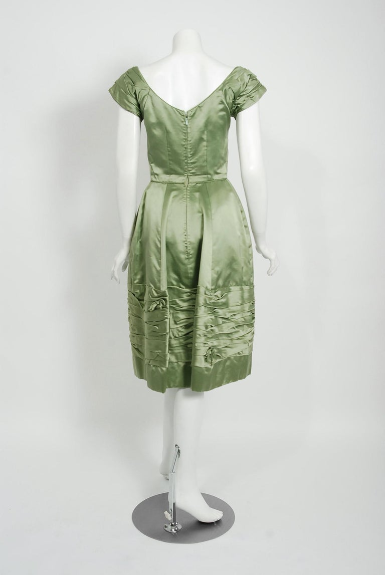 Vintage 1950's Evelyn Brown Couture Sage Green Silk-Satin Ruched Cocktail Dress For Sale 1