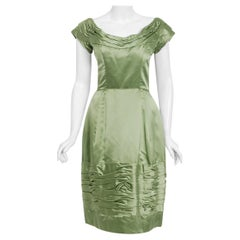 Vintage 1950's Evelyn Brown Couture Sage Green Silk-Satin Ruched Cocktail Dress
