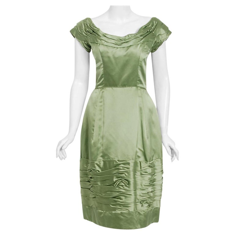 Vintage 1950's Evelyn Brown Couture Sage Green Silk-Satin Ruched Cocktail Dress For Sale