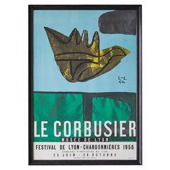 """Vintage 1950s Exhibition Poster """"Musée De Lyon"""" by Le Corbusier"""