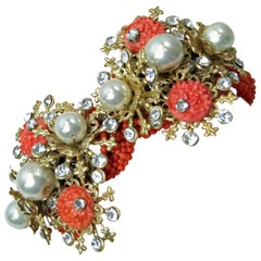 Vintage 1950s Faux Coral, Pearls & Crystals Clamper Bracelet
