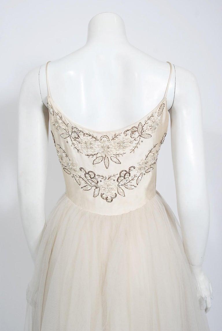 Vintage 1950's Frank Starr Beaded Sequin Ivory Satin Tulle-Skirted Bridal Dress For Sale 5